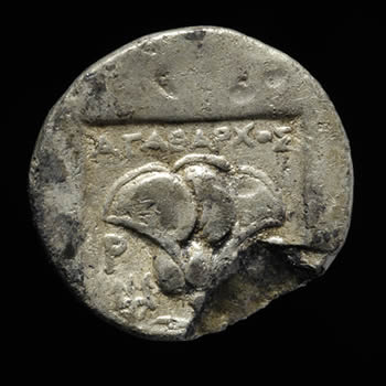 Silver coin of Rhodes, 166-88 BC. From Civil Basilica