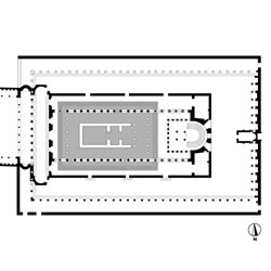 Composite plan of Temple of Aphrodite (shaded grey) and later Church